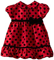 Sweet Heart Rose Baby-girls Infant Polka Dot Special Occasion Dress, Red/Black, 24 Months