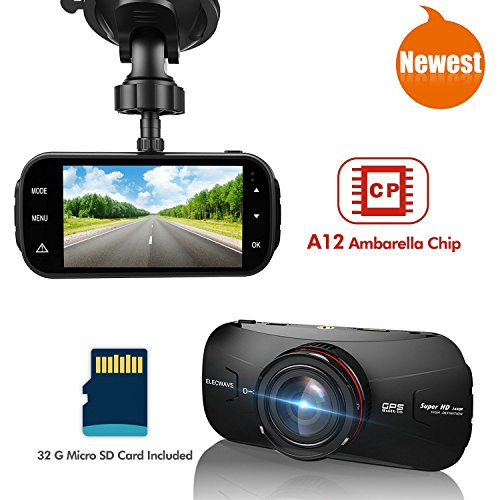 Car Dash DVR - Elecwave EW-D300 1440P Car dash camera 170 degree with 32GB micro SD card A12 chips black