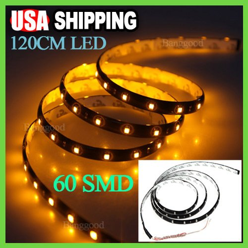 Yellow 120Cm 60 Led Flexible Neon Car Grill Strip Light Lamp Smd Bulb Waterproof