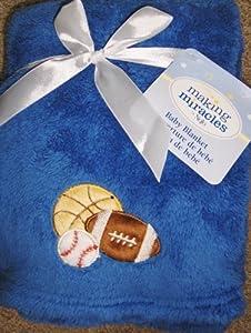 NOJO Making Miracles Baby Boy Blanket Blue Sports Applique basketball baseball football
