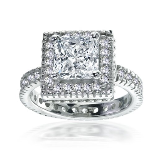 Bling Jewelry Sterling Silver Vintage 2.05 ct Princess Cut CZ Engagement Ring – 5