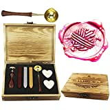 CTEB Wool Ball Knitting Clew Decorative Wax Seal Stamp Kit Wood Handle Melting Spoon Wax Sticks Candle Wood Gift Box Set Christmas Gift Weding Invitations Envelopes Letters Sealing Wax Seal Stamp Kit