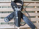 "44"" Black Leather .22 Caliber Gun Belt and Right Handed Smooth Holster Combination"
