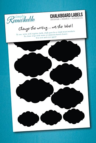 Reusable Chalk Labels - 22 Fancy Oval Shape Adhesive Chalkboard Stickers in 4 Sizes, Dishwasher Safe - Wipe Clean and Reuse, Organizing, , Crafts, Personalized Hostess Gifts, Wedding Party Favors - 1