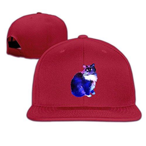 Custom Unisex-Adult Starry Night Sky Cat Flat Brim Baseball Cap Hat Red (Smart Balance Popcorn compare prices)