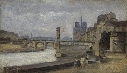 Oil Painting 'Stanislas Victor Edmond Lepine The Pont De La Tournelle Paris ' Printing On Polyster Canvas , 8 X 14 Inch / 20 X 35 Cm ,the Best Garage Artwork And Home Decoration And Gifts Is This High Resolution Art Decorative Canvas Prints