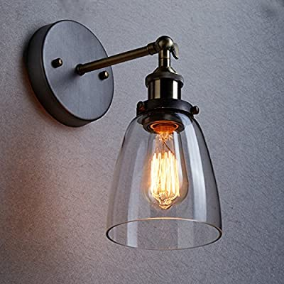 Ecopower Industrial Edison Old Fashion Simplicity Glass Wall Sconce Metal Base Cap