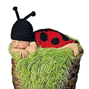 Foxnovo Cute Beetle Style Baby Infant Newborn Handmade Crochet Beanie Hat Clothes Baby Photograph Props