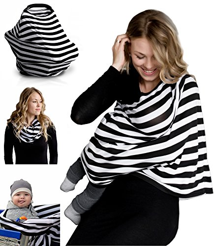 Nursing Breastfeeding Cover Scarf - Baby Car Seat Canopy, Shopping Cart, Stroller, Carseat Covers for Girls and Boys - Best Multi-Use Infinity Stretchy Udder Cozy Shawl for Infants by QAQADU