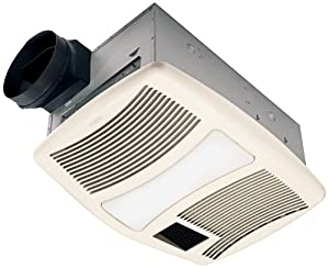 Broan qtxn110hl ultra silent heater combination ventilation fan with light in 6 for Ultra quiet bathroom exhaust fan with light