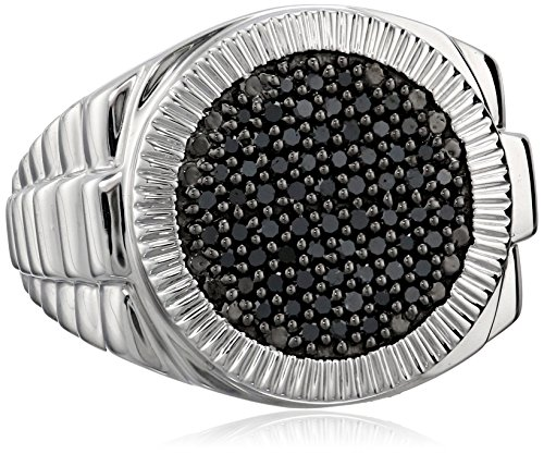 Men's Sterling Silver and Black Diamond Ring (1/2 cttw)