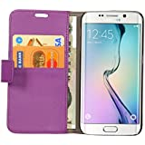 Cock Flip Cover For Samsung Galaxy S6 Leather Case Cover With Kickstand Feature Purple