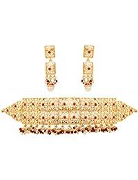 Touchstone Indian Bollywood Mughal Era Inspired Jadau Faux Pearls Ruby Grand Bridal Jewelry Choker Necklace Set...