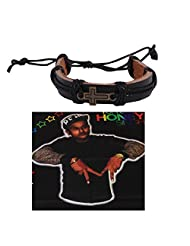 Jstarmart Black Cross Leather Wrist Band Combo Headwrap