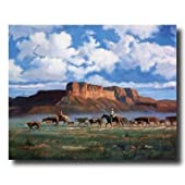 Cowboys Horses Cattle Western Landscape Animal Home Decor Wall Picture 16x20 Art Print
