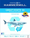 Hammermill Great White 30% Recycled Copy Paper Poly Wrap, 20lb,  8.5 x 11, 92 Bright, 500 Sheets/1 Ream (086710)