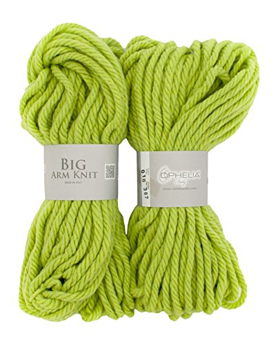 Ophelia Italy BigArmKnit010Filo in lana spesso, 70% acrilico 30% lana vergine, pacchetto 2x 100G, verde