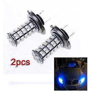 SODIAL(R) 2X H7 68 SMD LED LAMPE AMPOULE BULB BLEU PR VEHICULE AUTO
