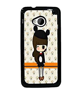PrintDhaba Cute Doll D-5870 Back Case Cover for HTC ONE M7 (Multi-Coloured)