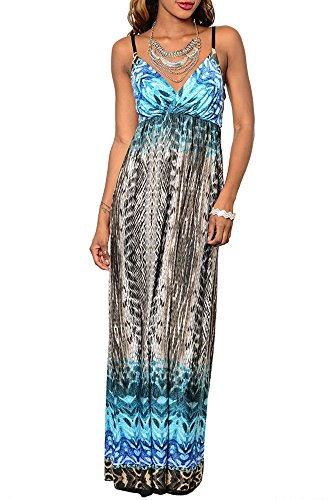 Dhstyles Women'S Abstract Pattern Spaghetti Strap Maxi Dress-Small - Blue,Teal