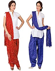 Womens Cottage Combo Pack Of 2 Printed Cotton Semi Patiala & Cotton Dupatta With Lace Set - B01G1GJYMG