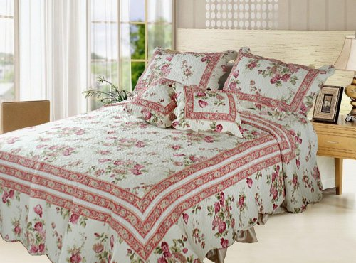 DaDa Bedding DXJ103136 French Country Cotton 5-Piece Quilt Set, Queen, Floral (Quilts Sale compare prices)