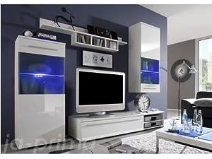 wohnwand anbauwand wohnzimmer m bel wei hochglanz gratis beleuchtung k che haushalt. Black Bedroom Furniture Sets. Home Design Ideas