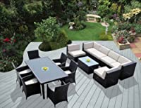 Ohana Collection pnc1401 14-Piece Outdoor Sectional Sofa and Dining Wicker Patio Furniture Set from Ohana Depot - DROP SHIP