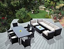 Big Sale Genuine Ohana Outdoor Sectional Sofa and Dining Wicker Patio Furniture Set (14 pc set) with Free Patio Cover