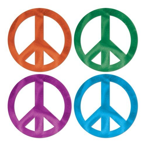 Foil Peace Sign Cutouts (asstd colors) Party Accessory  (1 count)