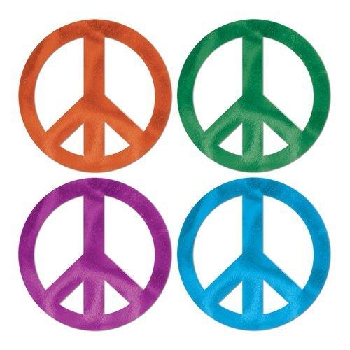 Foil Peace Sign Cutouts (asstd colors) Party Accessory  (1 count)