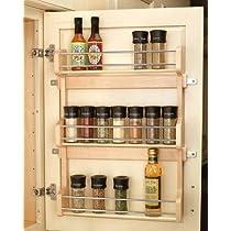 Maple,Rev-A-Shelf Wood Door Mount Spice Rack