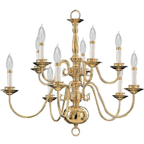 Quorum International 6171-10-2 Chandeliers With Shades, Polished Brass front-1066054