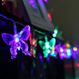 Innoo Tech 4.8m 20 Butterfly Solar String Lights for Outdoor Garden Patio Porch Balcony Home Christmas Party Bar Restaurant(Multi Color)