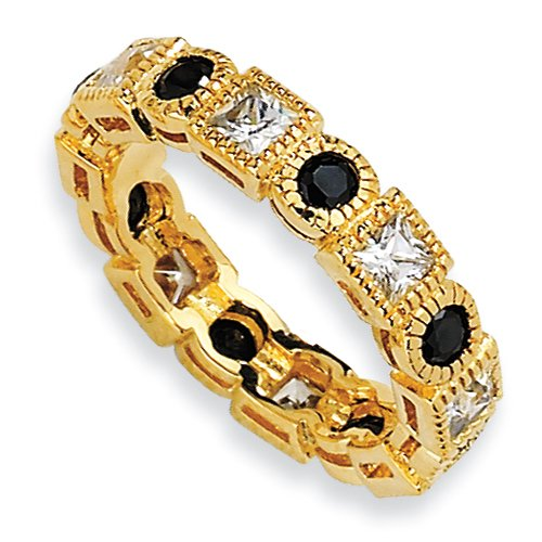 Gold-Plated Sterling Silver Black & White Cz Eternity Ring, Size 6