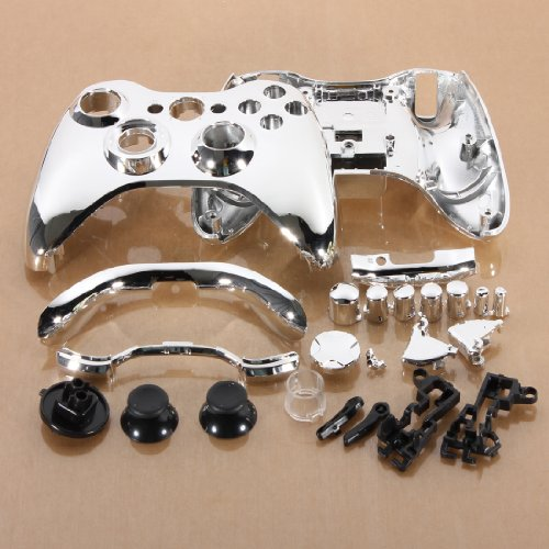 Silvery Chrome Custom Wireless Controller Replacement Shell Case Button For Xbox 360