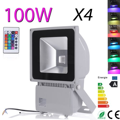 4 Pcs Waterproof 100 Watt Rgb Ac85-265V Led Waterpoof Outdoor Rgb Security Floodlight.