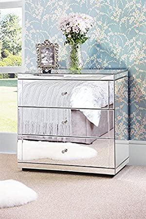 My-Furniture CHELSEA FLAVIA Mirrored Chest 3 drawers with Plinth
