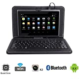 Tagital® T7X 7 Quad Core Android 4.4 KitKat Tablet PC, Bluetooth, Dual Camera, Play Store Pre-installed, 2016 Newest Model Bundled with Keyboard Black