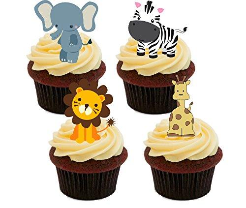Jungle/Zoo animaux décorations comestibles pour gâteaux-Col Montant Décorations pour cupcakes, Pack of 12