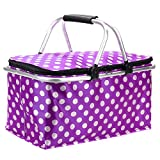Picnic Basket Bag, Iwotou Foldable Insulated Cooler Picnic Basket Bag (purple)