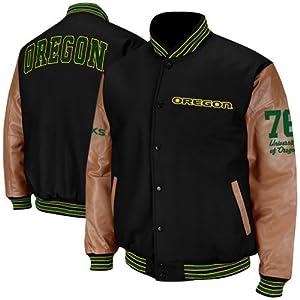 NCAA Oregon Ducks Varsity Letterman Button-Up Jacket - Black Tan by Colosseum