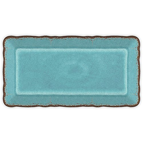 Le Cadeaux Antiqua Turquoise - Rectangular Biscuit Tray (Ceramic Tray compare prices)