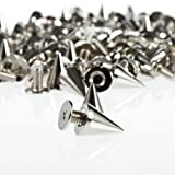 SZD 100pcs/set 9.5mm Silver Cone Spikes Screwback Studs DIY Craft Cool Rivets Punk