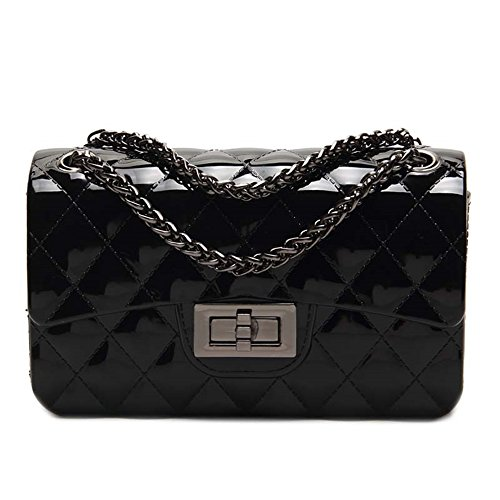 Ladies Lovely Waterproof Jelly Bag Crossbody Shoulder Handbag with Metal Chain (Black) (Black Jelly Bags Handbags compare prices)