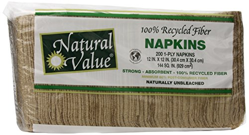 Natural Value 100% Recycled Fiber 1 Ply Napkins, 200 Count