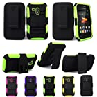 For Samsung Galaxy Rush M830 Cellularvilla 3pc Hard and Soft Green Black Kickstand Case with Holster Clip. This Case Is Only for the Samsung Galaxy Rush M830 (Green)