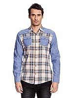 Redbridge Camisa Hombre (Azul / Mostaza)