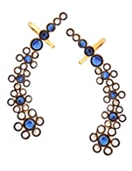 The Jewelbox Floral Delight 18K Gold Plated Sapphire Blue Polki Ear Cuff Pair For Women