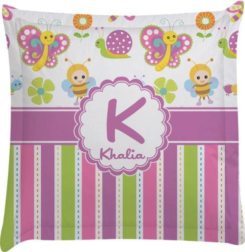 Butterflies & Stripes Personalized Euro Sham Pillow Case front-1002810